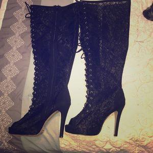 fd7e771c1e2 Women Lace Up Thigh High Boots Peep Toe on Poshmark